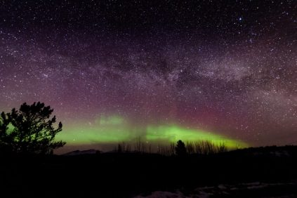 Northern Lights and the Milky Way in the Yukon, Canada