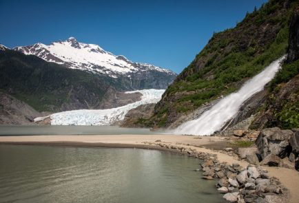 Rainbow falls and Mendenhall Glacier