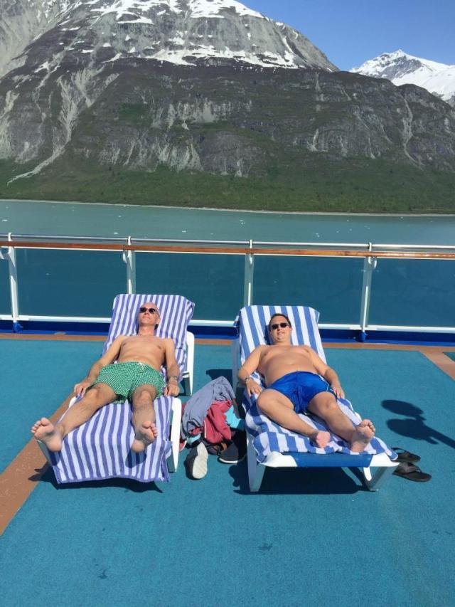 Getting some sun on a cruise in Alaska