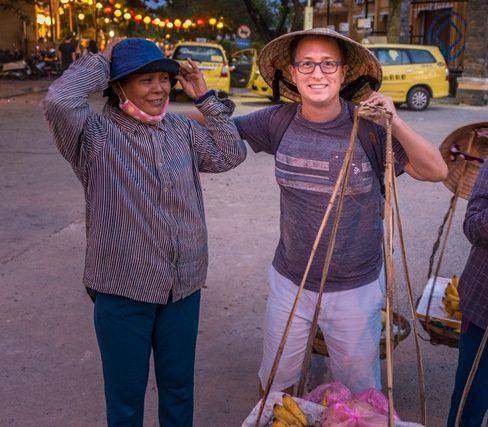 Rick Helping the Local Street Vendors in Vietnam