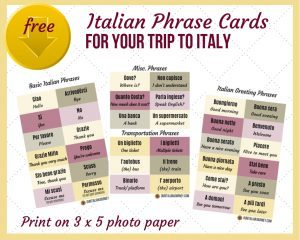 download Italian phrase cards at https://ouritalianjourney.com