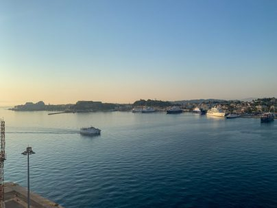 Good morning Corfù - You can't get a better day on the Mediterranean than this - do you see the Emerald Princess Cruise Ship in the background?