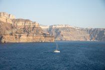 Sailing the Santorini Caldera on our Mediterranean Cruise Adventure
