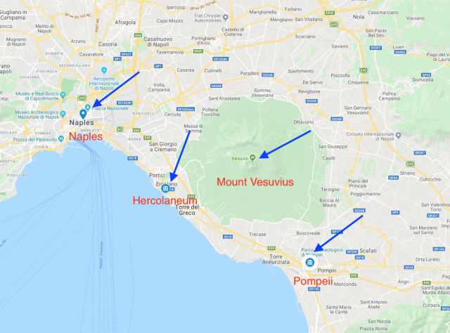 A Map of Naples, Pompeii and Herculaneum