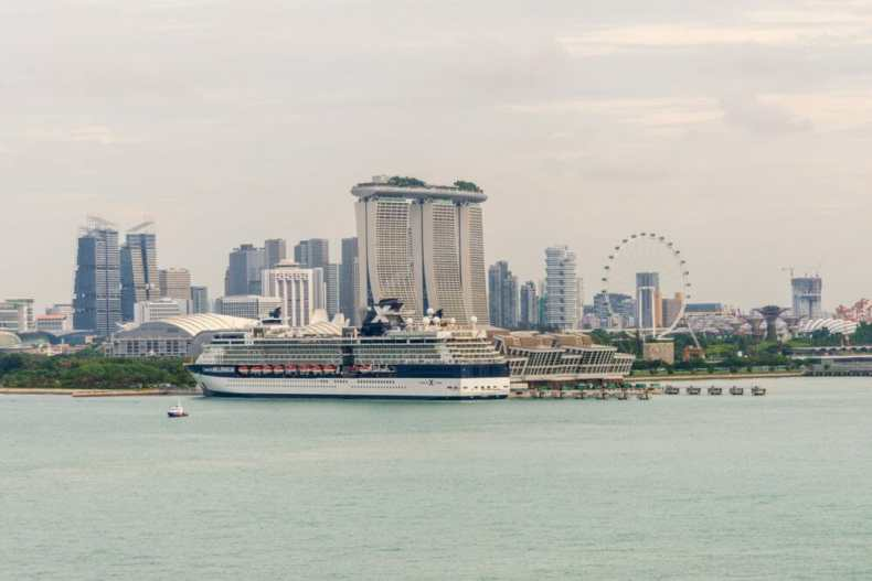 Singapore - Celebrity Cruise Ship Getting Ready to Leave