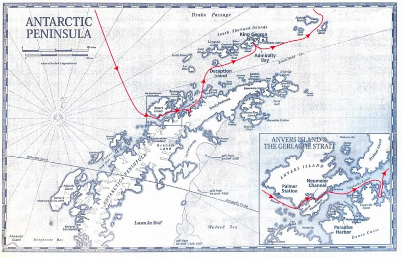 Our Itinerary through the Antarctic Peninsula