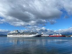 The beautiful Coral Princess docked in Ushuaia before cruising to Antarctica