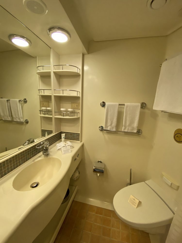 A view of our Bathroom in B520 on the Coral Princess cruise to Antarctica and South America