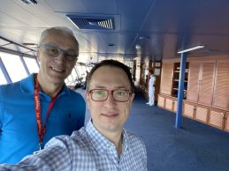 Rick and Andrea on the Bridge on the Coral Princess: Cruise to Antarctica
