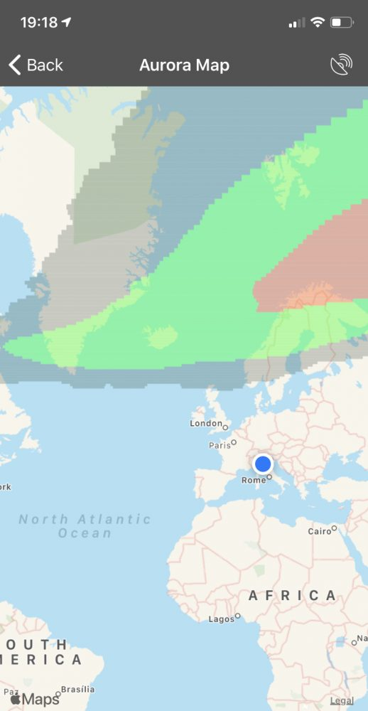 Interactive Map on Aurora Forecast helps indicate the best place and time to see the northern lights