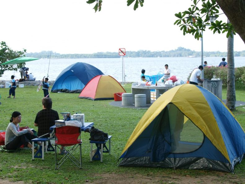 visitors and locals camping and barbeque - East coast park
