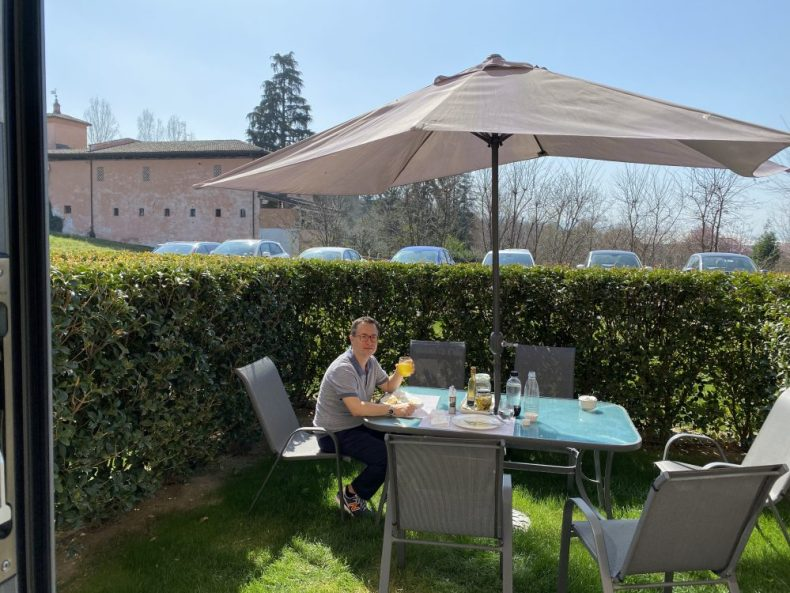 Rick Finishing lunch, living Locked Down in Italy amid shelter in place orders due to the covid-19 coronavirus