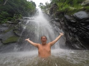 Rick swimming in the waterfall in Yelapa Mexico