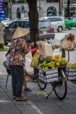 A fruit vendor on our cruise to asia