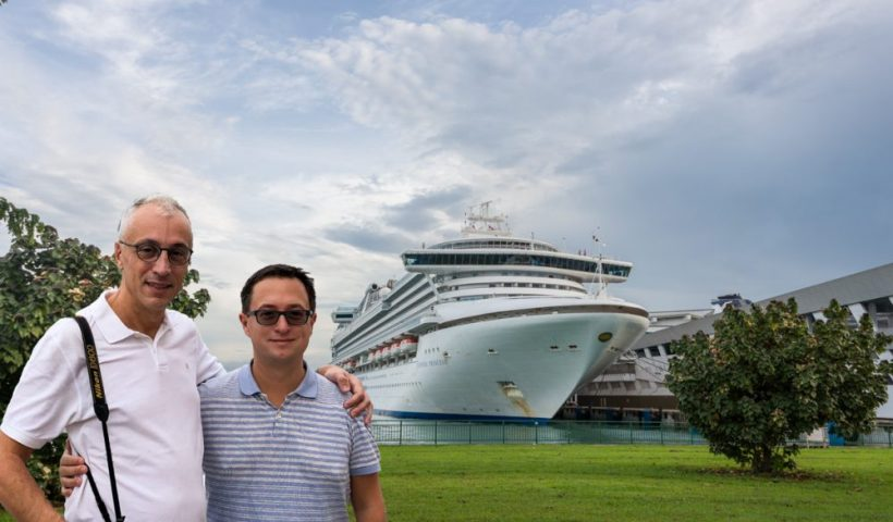 Rick and Andrea by the Sapphire Princess on their Cruise to Asia