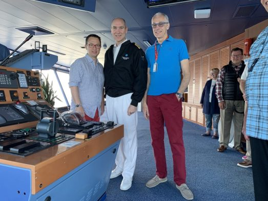 Rick Andrea and Capt Todd McBain on the Bridge of the Coral Princess - on our Cruise to Antarctica and South America