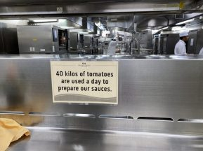 A Sign in the Galley on board the Coral Princess