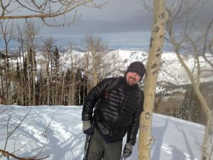 Chris back-country skiing in the Wasatch mountains in Utah, USA.