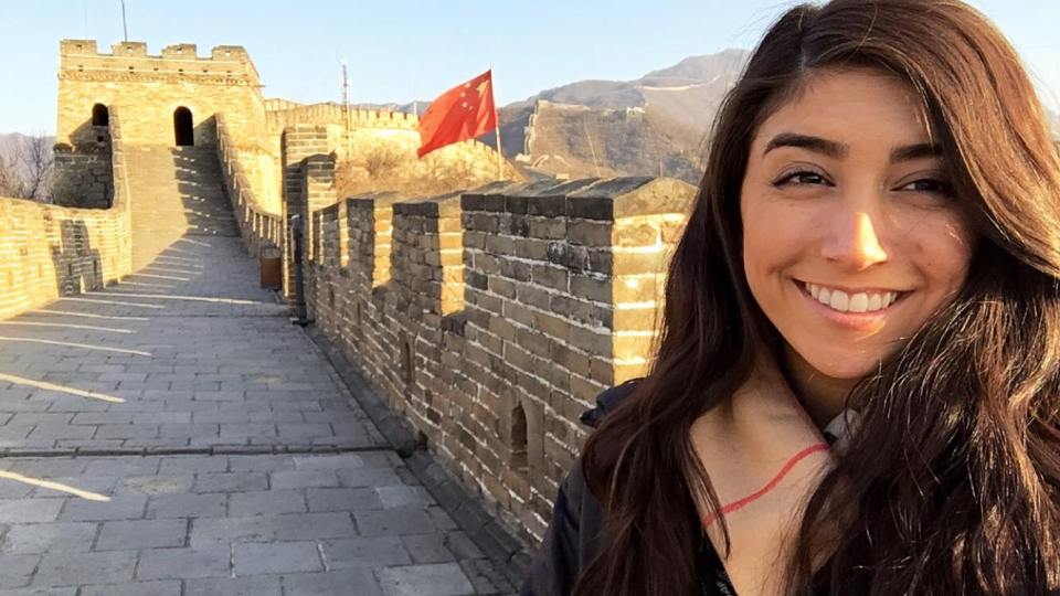 Kaitlyn visiting the great wall of china