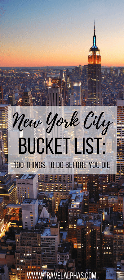 Looking for some New York City travel inspiration? Then look no further! This New York City Bucket List includes 100 things to do in New York City before you die. From amazing restaurants and markets, to museums and art galleries, to places to enjoy recreational activities and insanely beautiful views, this article has it all. Forget anything you've ever read about New York City before, because this bucket list, written by a New Yorker, is the only resource you'll ever need for your next trip to NYC! We hope you enjoy. Thanks for pinning!