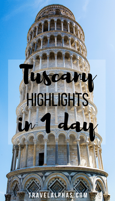 A guide to Tuscany, Italy's highlights in one day. From San Gimignano and Pisa, to Siena and Chianti, you'll see it all!