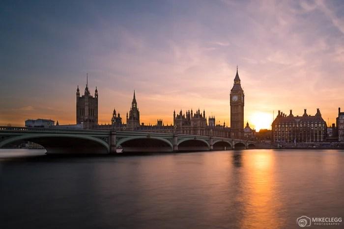 Palácio de Westminster, pôr do sol