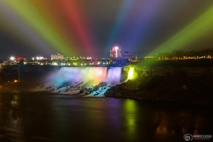 Colourful spotlights on American Falls