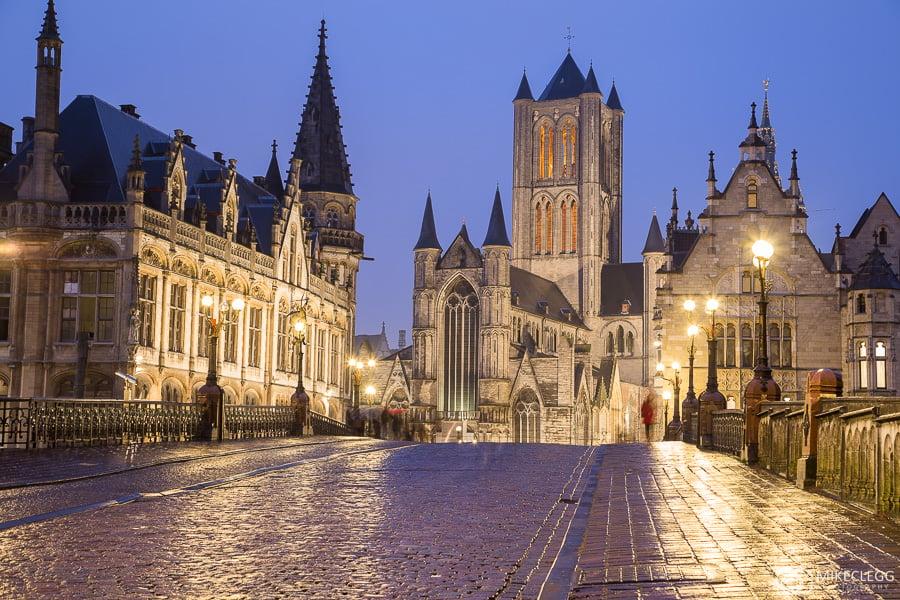 Cidade Velha de Gante à noite