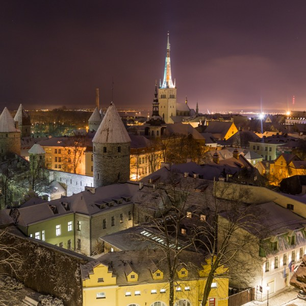 Views of the Tallinn Skyline at night