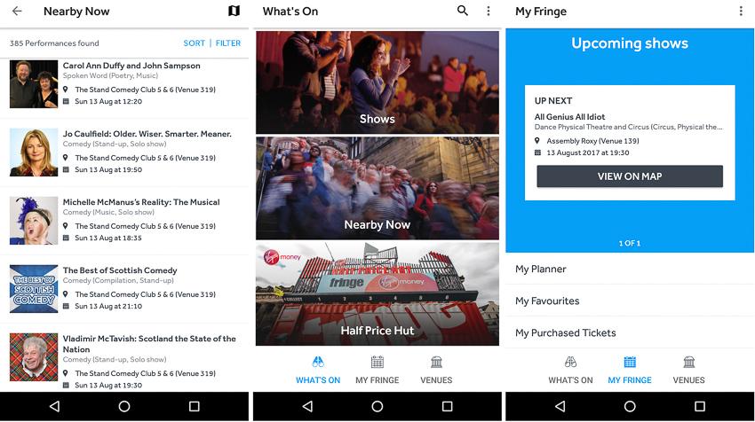 Capturas de tela do aplicativo Fringe