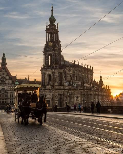 Dresden ao pôr do sol, Alemanha