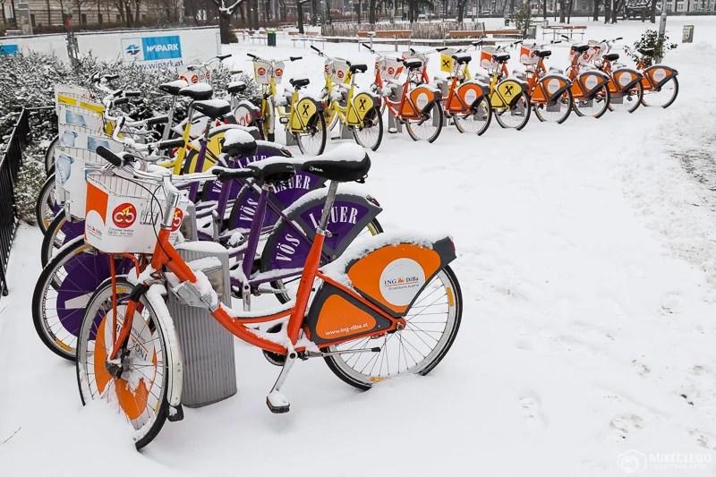 City Bikes em Viena no inverno