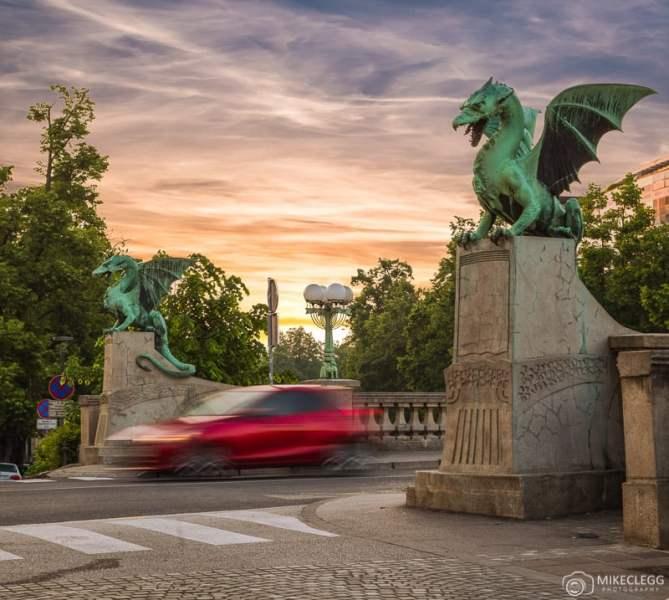 Ponte do Dragão, nascer do sol em Liubliana
