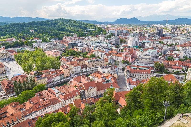 Vistas da cidade a partir do Castelo de Liubliana