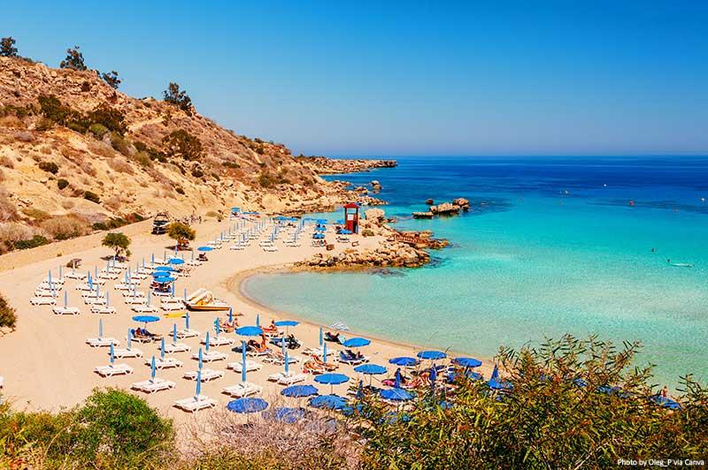 Praia de Nissi e Cavo Greco em Ayia Napa, ilha de Chipre