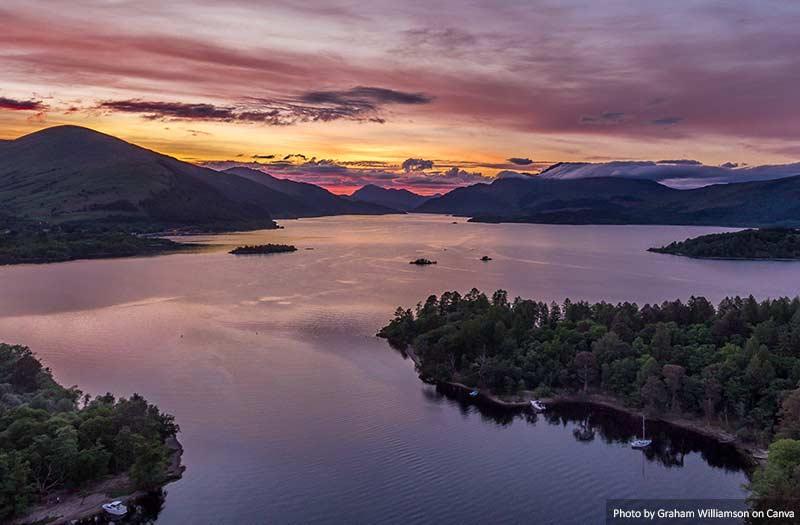 Loch Lomond Aerial Sunset