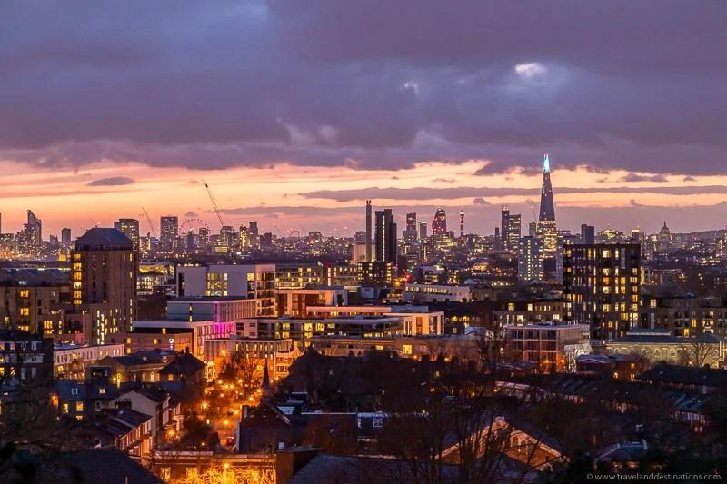 Vistas do horizonte de The Point, Londres à noite