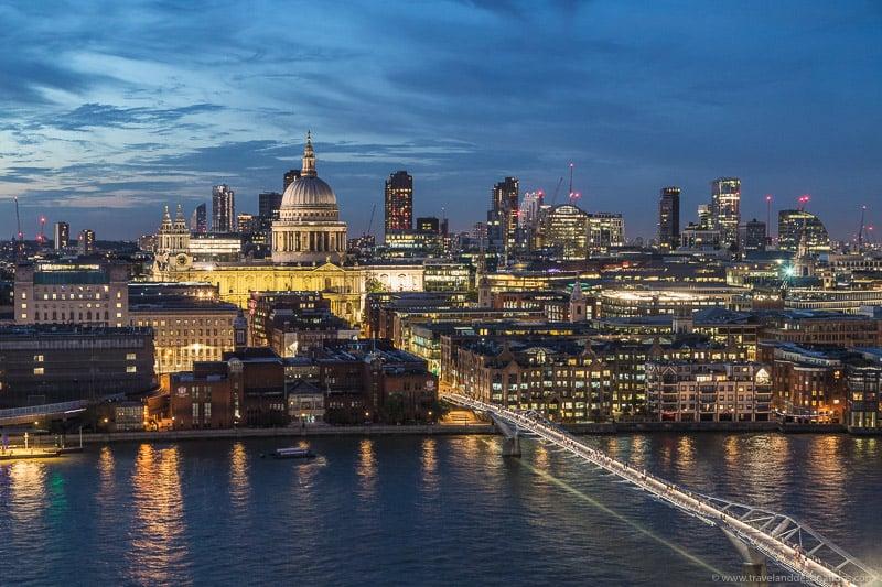 Vistas do deck de observação Tate Modern