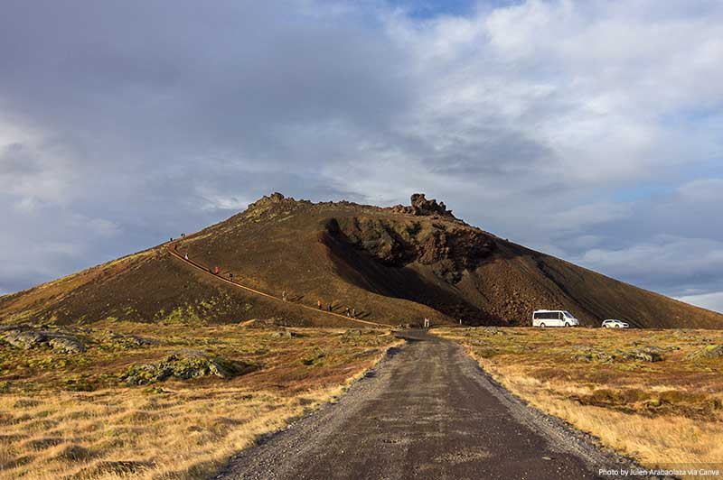 A cratera Saxhóll na Islândia