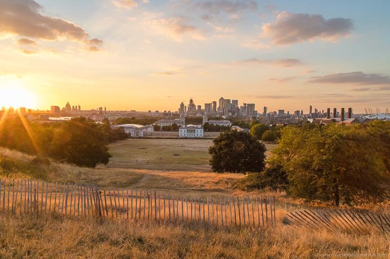 Greenwich Park ao pôr do sol