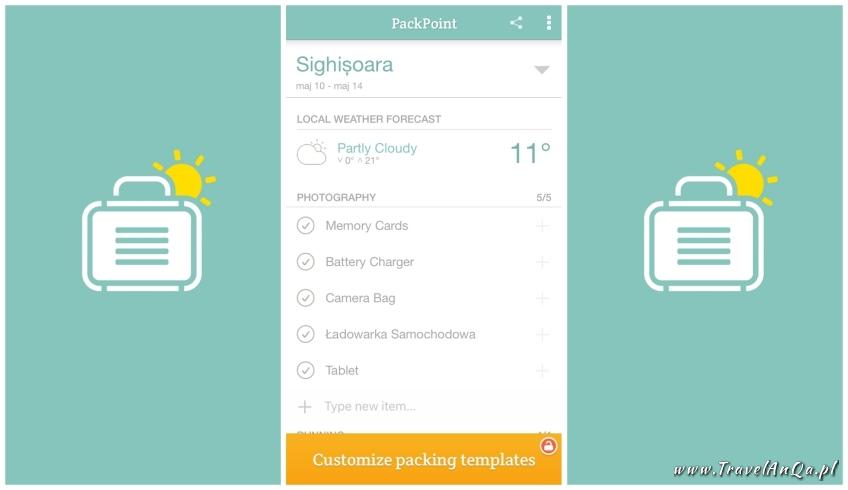 Aplikacje dla podróżników - PackPoint