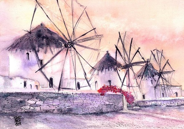 Greece - The Ancient Windmills of Mykonos