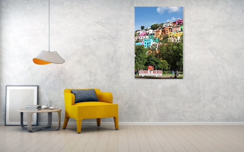 Colorful buildings in Guanajuate art print mounted on the wall