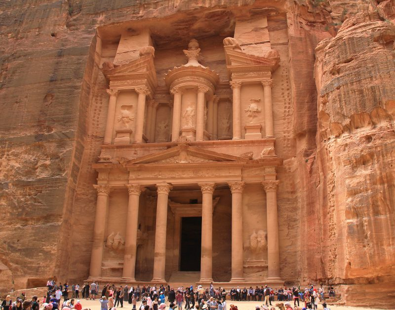 The Treasury at Petra, Jordan, a Well-preserved Temple from Ancient Times