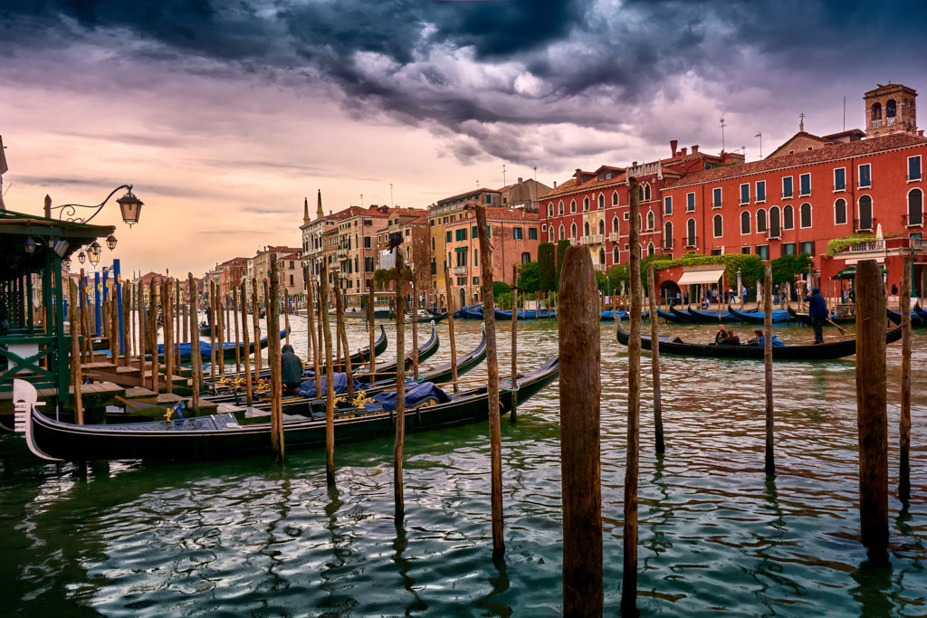 Vintage buildings and dramatic sky, a dreamlike seascape in Venice, Italy