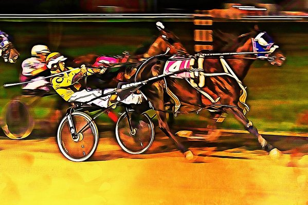 Harness race inverness, Nova Scotia - Digital paint by Tatiana Travelways
