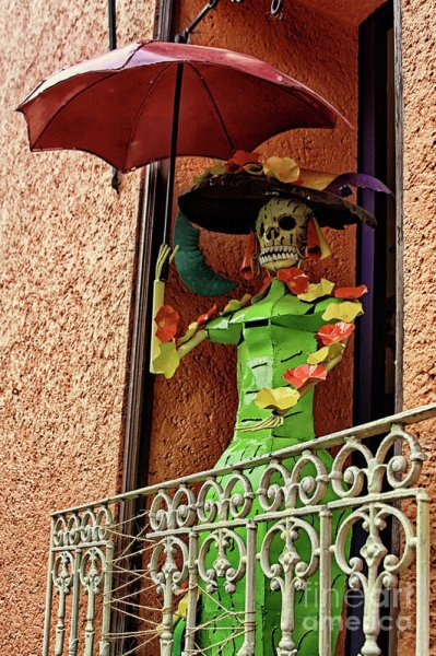 Catrina art decor in a boutique balcony in Mexico City