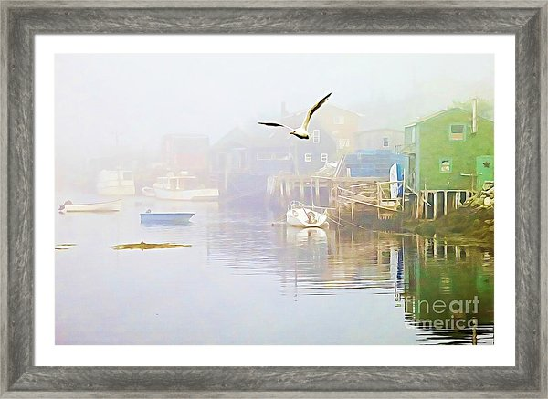 Fog over West Dover Nova Scotia, Canada, framed print