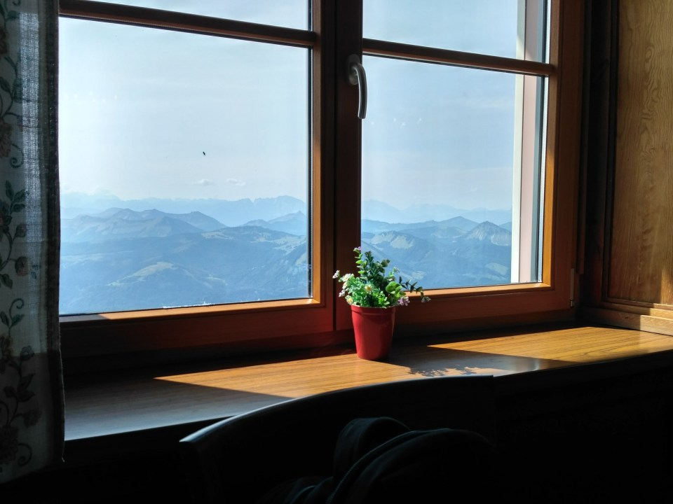 Lunch at the Schafbergspitze restaurant atop the Schafberg, with a view from the window