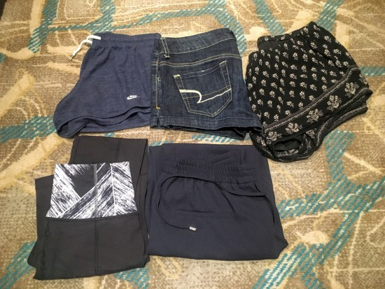 Top: jammy shorts, jorts, shorts from Zara (replace the yellow pair I stained with red wine); Bottom: long Lulu leggings, light pants from Zara (not pictured: Lulu crops, because I don't photograph nude, silly!)